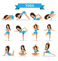 set of yoga positions design vector image