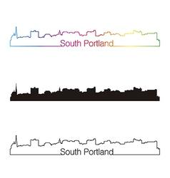 South Portland skyline linear style with rainbow vector image vector image