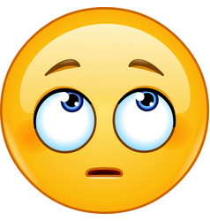 face with rolling eyes emoticon vector image vector image