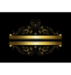 Gold floral design with a cross and ribbons vector image vector image