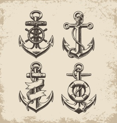 Hand Drawn Anchor Set vector image