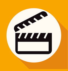 icon cinema on white circle with a long shadow vector image vector image
