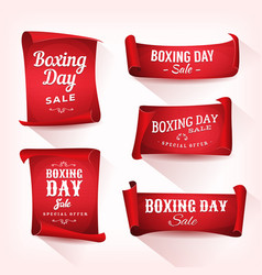 Set of boxing day sale parchment and banners vector