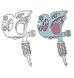 Tattoo gun black and colored vector image