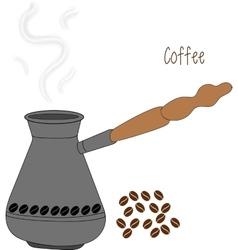 Turkish fishborn coffee pot prepared with coffee vector image