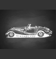 vintage convertible on blackboard vector image