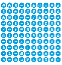 100 building icons set blue vector