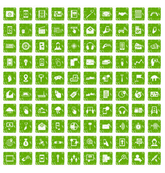 100 mobile icons set grunge green vector