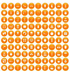 100 women health icons set orange vector