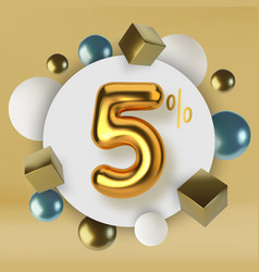 5 off discount promotion sale made 3d gold text vector