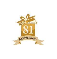 81 years gift box ribbon anniversary vector