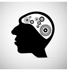 Abstract Black Human Head with Cogs Gears Instead vector image