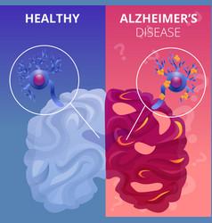 Alzheimer brain banner set cartoon style vector