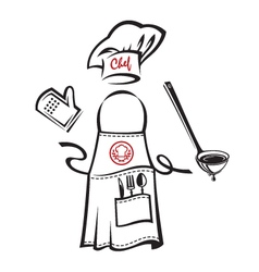 Apron with kitchenware vector