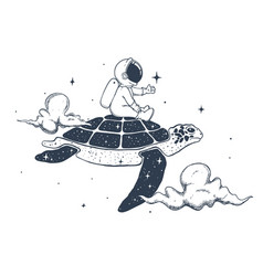 Astronaut and turtle in clouds vector