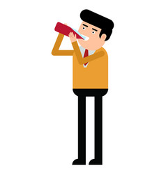 attractive young man drinking syrup from a bottle vector image