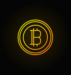 Bitcoin golden linear icon crypto currency vector