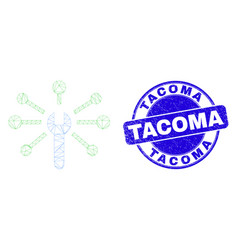 Blue scratched tacoma seal and web carcass wrench vector