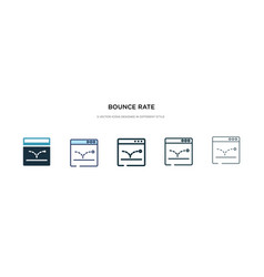 bounce rate icon in different style two colored vector image