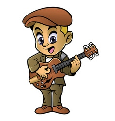Boy playing a jazz guitar vector