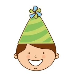 Boy with hat party icon vector