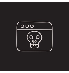 Browser window with skull sketch icon vector image