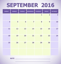 Calendar September 2016 week starts Sunday vector