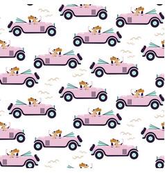 car retro cute girl seamless pink pattern vector image