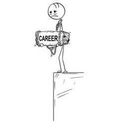 Cartoon of depressed man standing on edge holding vector