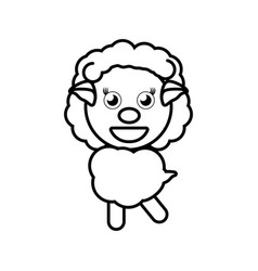 Cartoon sheep animal outline vector