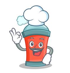 Chef aerosol spray can character cartoon vector