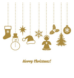 christmas card with decoration vector image