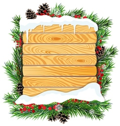 Christmas tree branches and wooden billboard vector image