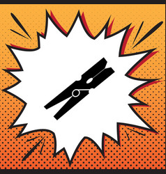 Clothes peg sign comics style icon on pop vector