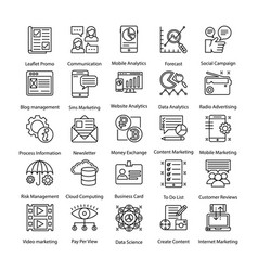 Collection of internet and digital marketing lined vector