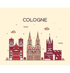 Cologne skyline linear style vector