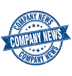 Company news round grunge ribbon stamp vector
