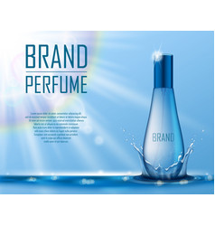 Cosmetic products ad realistic perfume container vector