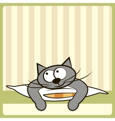 Cute cat on the pillow vector