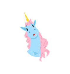 cute funny unicorn character cartoon vector image