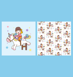 cute girl ride unicorn jump obstacles and pattern vector image