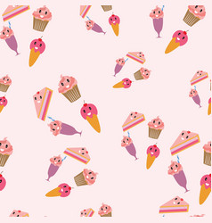cute ice cream and cake seamless pattern vector image