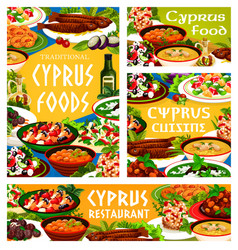 cyprus food cuisine cyprian meals posters vector image