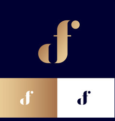 d and f monogram original gold symbol vector image