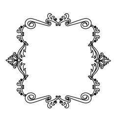 Decorative frame floral border crest royal element vector