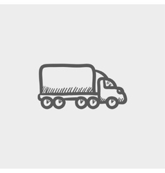 Delivery car sketch icon vector