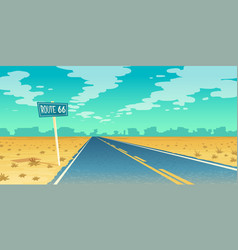 Desert landscape with asphalt route 66 vector
