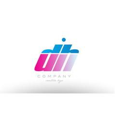 dh d h alphabet letter combination pink blue bold vector image