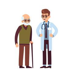 doctor and elderly patient healthcare helping vector image