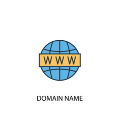 Domain name concept 2 colored line icon simple vector